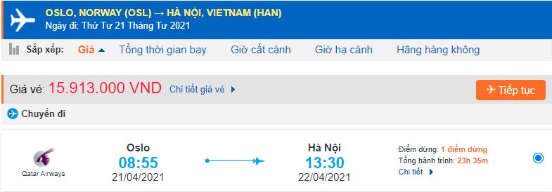Giá vé máy bay từ Na Uy về Việt Nam Qatar Airways