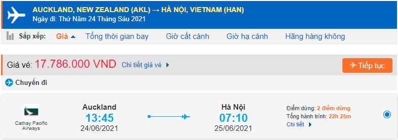 Vé máy bay từ New Zealand về Việt Nam Cathay Pacific Airways