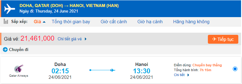 Vé máy bay từ Qatar về Việt Nam Qatar Airways