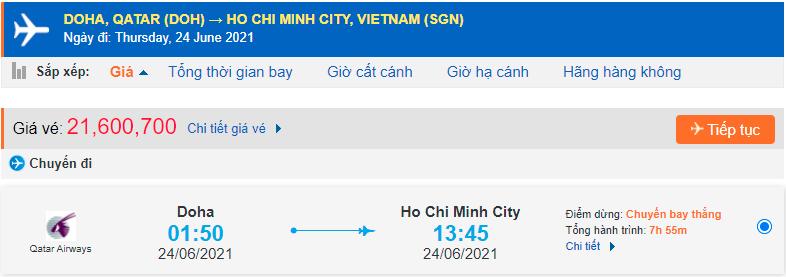 Vé máy bay từ Qatar về Hồ Chí Minh