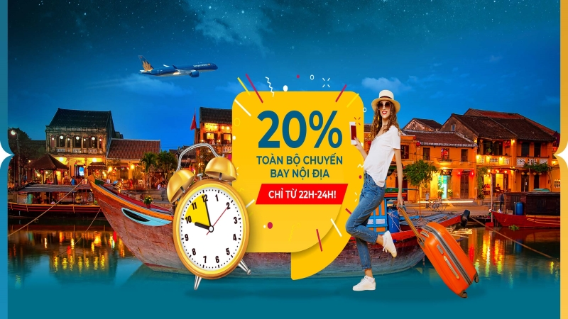 Vietnam Airlines khuyến mãi Mid – Night Sales giảm đến 20% nội địa