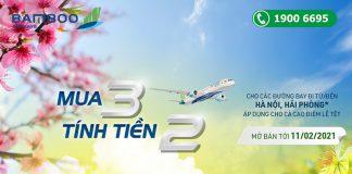 Khuyến mãi mua 3 tính tiền 1 đón Tết cùng Bamboo Airways