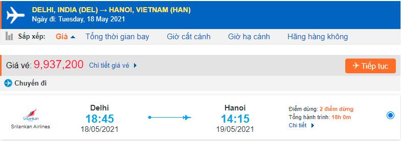 Vé máy bay từ Ấn Độ sang Việt Nam