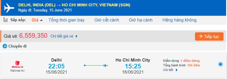 Giá vé máy bay từ Ấn Độ về Hồ Chí Minh