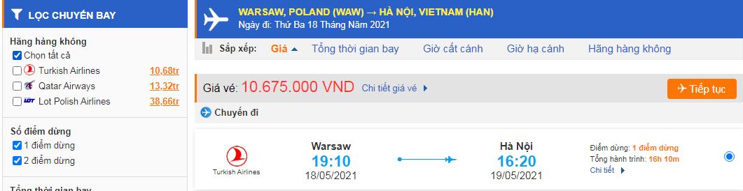 Vé máy bay từ Ba Lan về Việt Nam