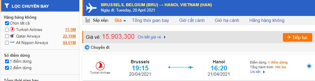 Vé máy bay từ Bỉ về Việt Nam