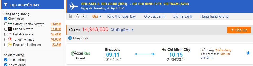 Vé máy bay từ Bỉ về Hồ Chí Minh