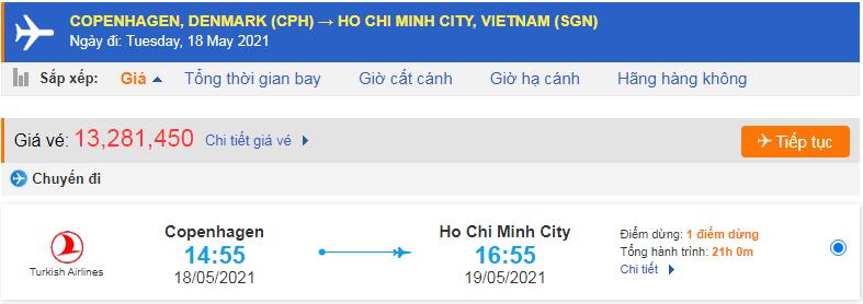Giá vé máy bay từ Đan Mạch về Hồ Chí Minh