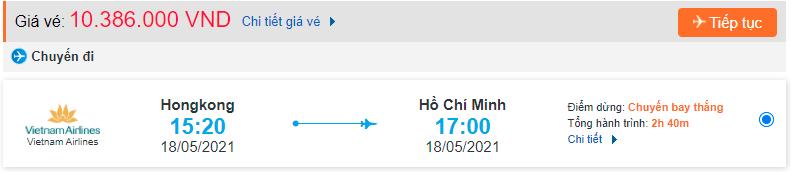 Vé máy bay từ Hong Kong về Hồ Chí Minh