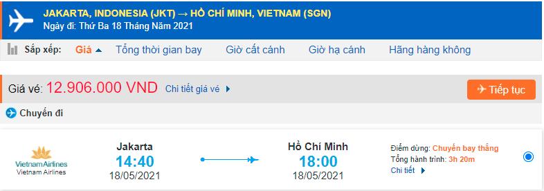 Giá vé máy bay từ Indonesia về Hồ Chí Minh
