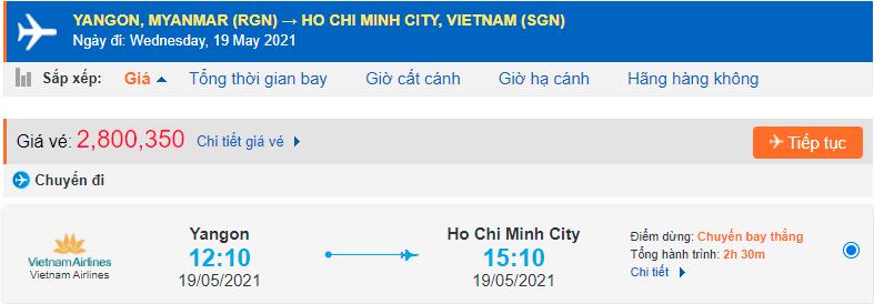 Vé máy bay từ Myanmar về Hồ Chí Minh