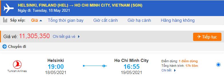Vé máy bay từ Phần Lan về Hồ Chí Minh