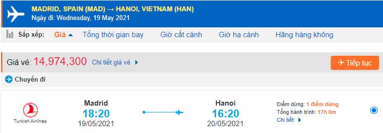 Giá vé máy bay từ Tây Ban Nha về Việt Nam