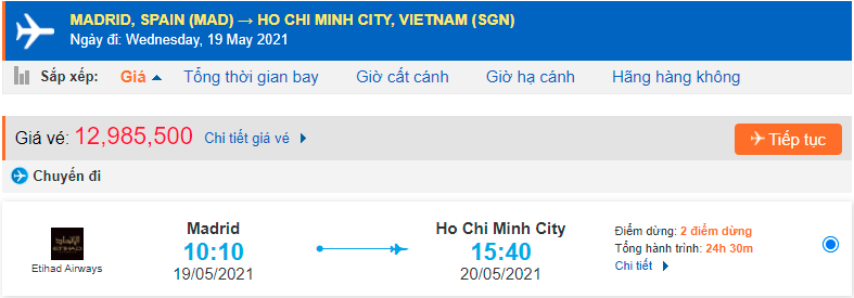 Vé máy bay từ Tây Ban Nha về Hồ Chí Minh