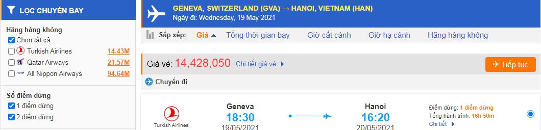 Vé máy bay từ Thụy Sĩ về Việt Nam