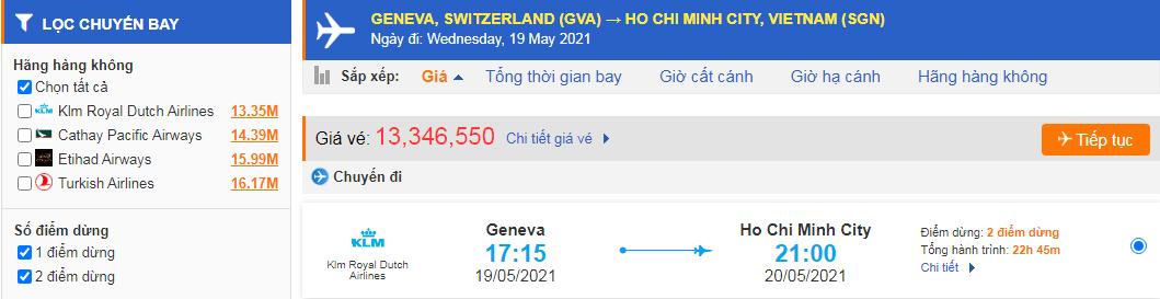 Giá vé máy bay từ Thụy Sĩ về Hồ Chí Minh