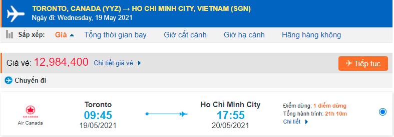 Vé máy bay từ Toronto về Hồ Chí Minh