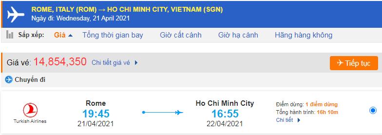 Giá vé máy bay từ Italia về Việt Nam