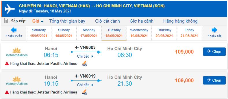 Vé máy bay Hà Nội đi Hồ Chí Minh Pacific Airlines