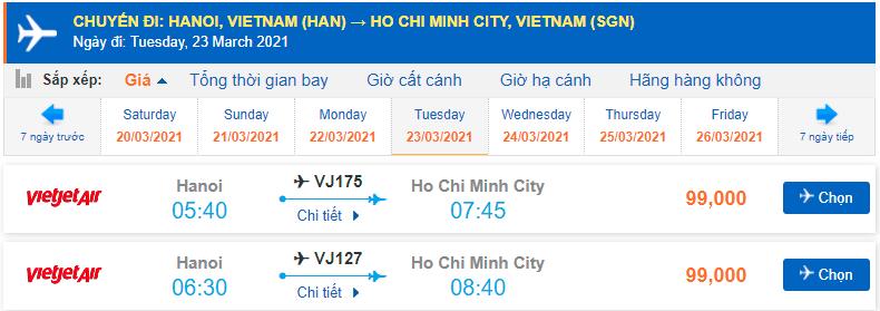 Giá vé máy bay Hà Nội Hồ Chí Minh Vietjet Air