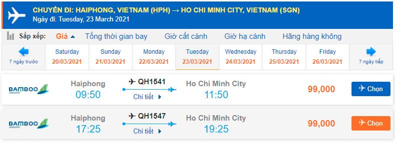 Vé máy bay Hải Phòng đi Sài Gòn Bamboo Airways