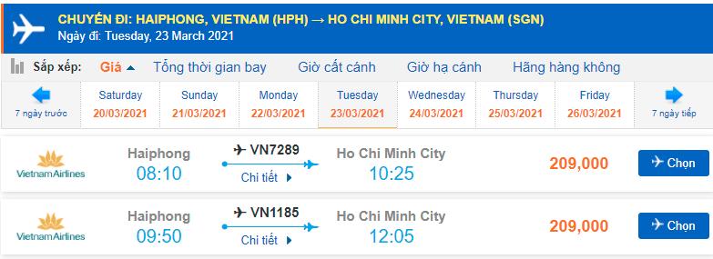 Giá vé máy bay Hải Phòng Sài Gòn