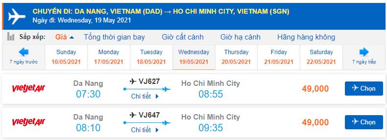 Vé máy bay Đà Nẵng tp Hồ Chí Minh Vietjet Air