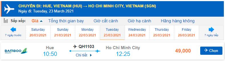 Vé máy bay Huế đi Hồ Chí Minh Bamboo Airways