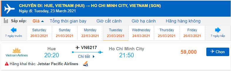 Vé máy bay Huế Sài Gòn Pacific Airlines