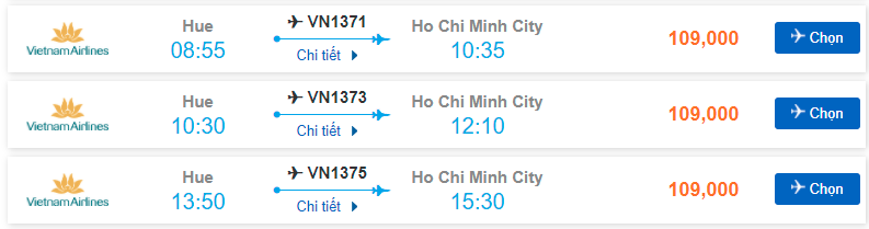 Vé máy bay Huế Sài Gòn giá rẻ