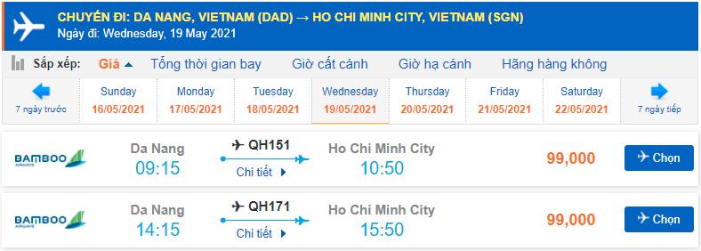 Vé máy bay Đà Nẵng đi Hồ Chí Minh Bamboo Airways