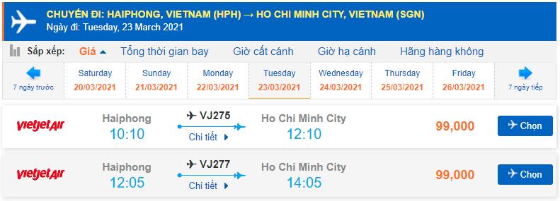 Vé máy bay Hải Phòng Hồ Chí Minh Vietjet Air