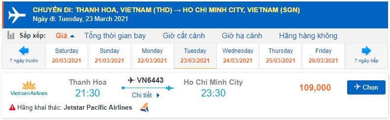 Vé máy bay Thanh Hóa Sài Gòn Giá rẻ Pacific Airlines