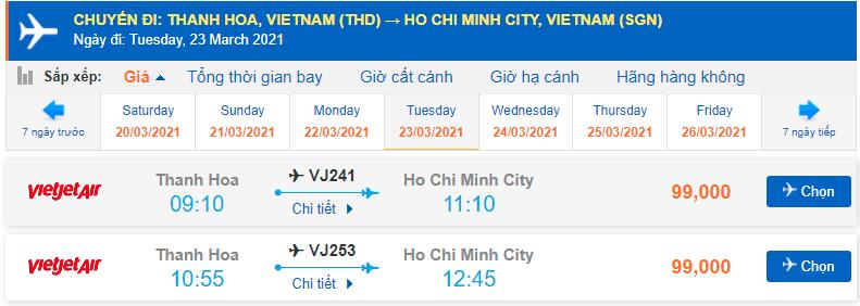 Vé máy bay Thanh Hóa đi Sài Gòn Vietjet Air