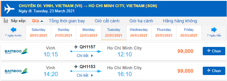 Giá vé máy bay Vinh Sài gòn Bamboo Airways