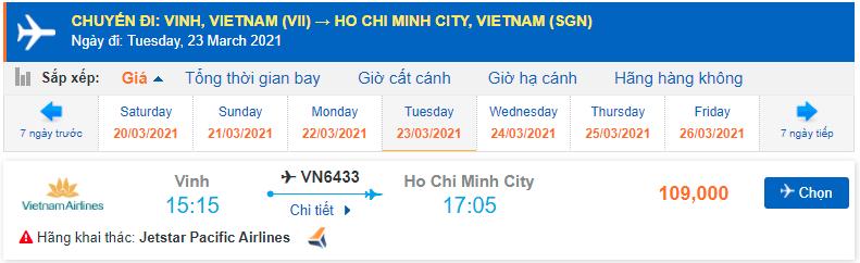 Vé máy bay từ Vinh vào Sài Gòn Pacific Airlines