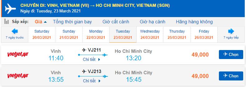 Vé máy bay Vinh đi Sài Gòn Vietjet Air