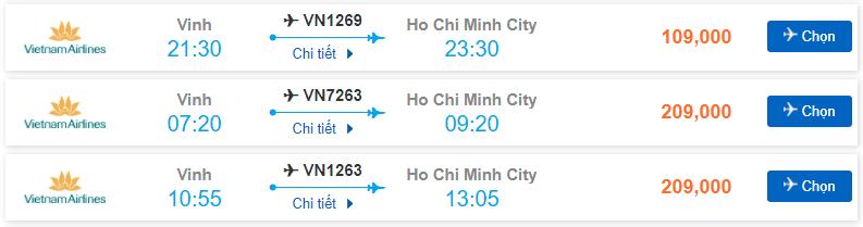 Vé máy bay Vinh – Sài Gòn