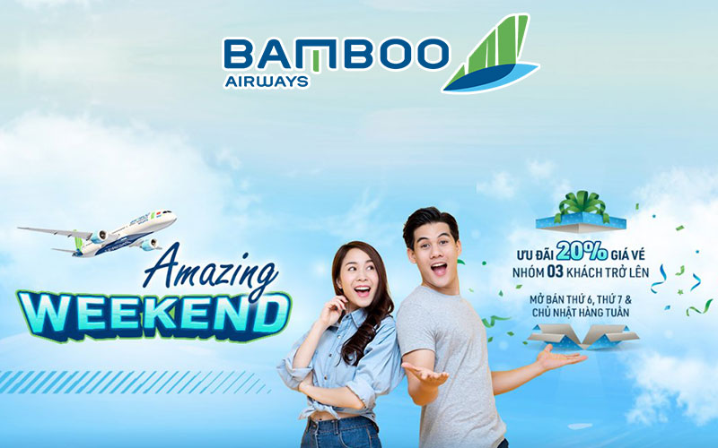 Khuyến mãi Bamboo Airways cuối tuần giảm 20% giá vé đường bay nội địa