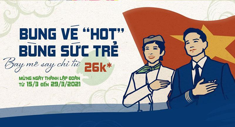 Bamboo Airways khuyến mãi mừng ngày thành lập Đoàn TNCS Hồ Chí Minh chỉ từ 26k