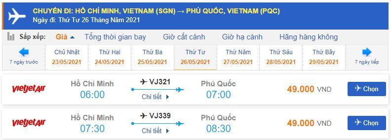 Vé máy bay Sài Gòn đi Phú Quốc bao nhiêu tiền