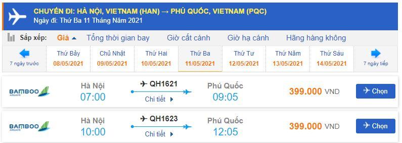 Giá vé máy bay Bamboo Airways đi Phú Quốc