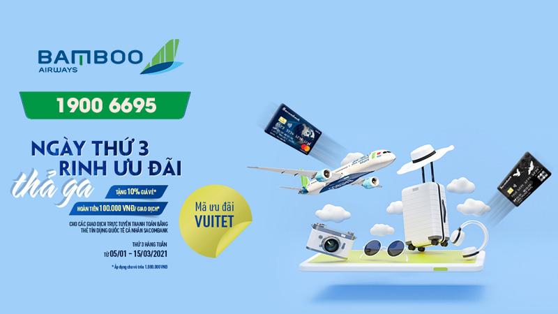 Bamboo Airways khuyến mãi ngày thứ 3 rinh ưu đãi thả ga