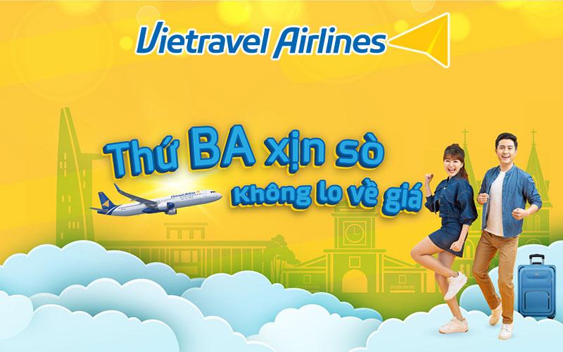 Thứ 3 xịn sò cùng Vietravel Airlines với mức giá chỉ từ 8.000 VND