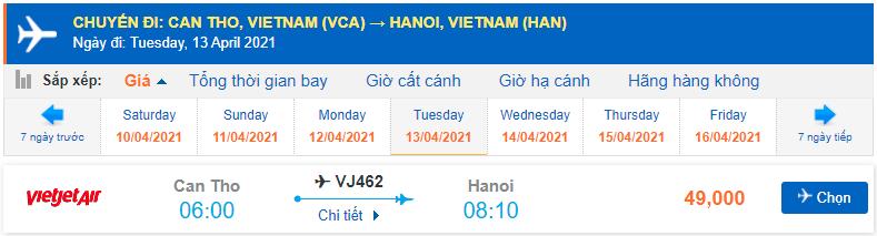 Vé máy bay Cần Thơ Hà Nội Vietjet Air