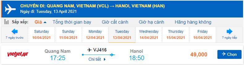 Giá vé máy bay Chu Lai Hà Nội Vietjet Air