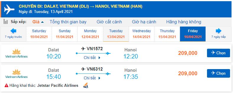 Vé máy bay Đà Lạt Hà Nội giá rẻ Pacific Airlines