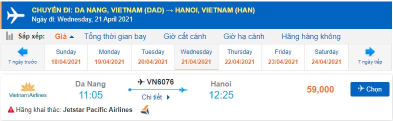 Giá vé máy bay Pacific Airlines Đà Nẵng Hà Nội