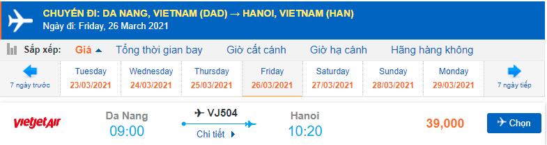 Vé máy bay Đà Nẵng Hà Nội Vietjet Air