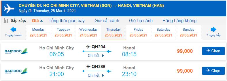 Vé máy bay Sài Gòn Hà Nội Bamboo Airways